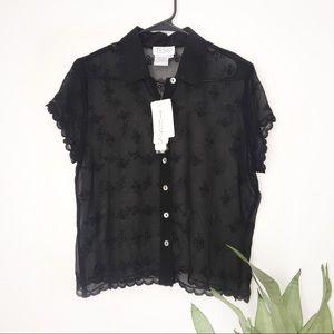 NWT TESS 100% Silk Floral Print Sheer Button Down
